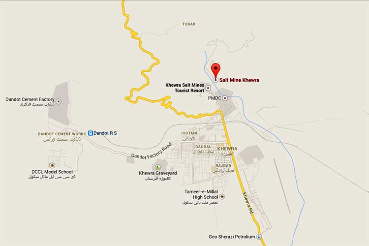 Map of Khewra Salt Mines